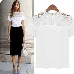 Unique Hollow Out Lace Short Sleeve Shirt