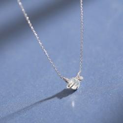Mignon simple rêve cristal pendentif petit diable en argent tempérament collier