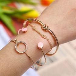 Cute Simple Personality Knotted Circle Diamond Arrow Four-piece Open Bracelet