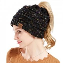 Queue de cheval de mode en dehors des bandeaux couleur mélangée chapeau d'hiver chaud pour femmes