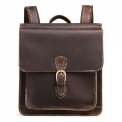 Retro Real Leather British Single Buckle Original Handmade Square Travel Backpack