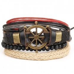 Punk Cuir Bracelet tissé à la main multicouche Bracelet jonc en perles vintage