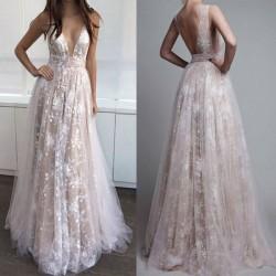 Élégante robe de bal crochet fleur creuse dentelle profonde V sexy longue robe de soirée