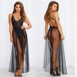 Sexy une pièce robe en maille dentelle longue chemise de nuit lingerie intime