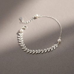 Fresh Wheat Ears Simple Literature Pearl Leaf Silver Lady Bracelet