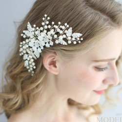 Doux Perle Cristal Exquis Peigne À La Main Cheveux Peigne Feuilles Mariée Fleur De Mariage Cheveux Accessoires