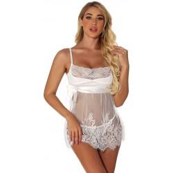 Chemise de nuit nuptiale blanche sexy en dentelle florale jupe en perspective en maille nuisette pour les femmes Nuisette Lingerie
