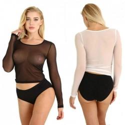 Body Sexy pour les femmes tentation maille chemise à manches longues Transparent Teddy négligé hauts Lingerie