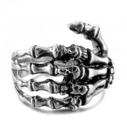 Bague originale de doigt d'os de main de crâne noir de ton punk Bague en acier inoxydable pour hommes