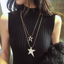 Double Étoiles faux diamant Chandail Chaîne Long Collier