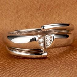 Romantique platine plaqué Zircon Couple Bague