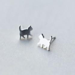 Mini clous d'oreille de chat brossés mignons bijoux animaux Kitty 925 boucles d'oreilles en argent