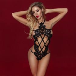 Sexy évider résille Teddy Lingerie à lanières voir à travers le dos nu body sous-vêtements pour femmes Lingerie