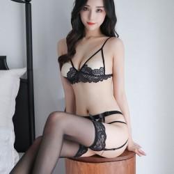 Sexy voir à travers la coupe ouverte soutien-gorge sans entrejambe culotte ensembles femme lingerie avec porte-jarretelles dentelle lingerie intime