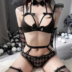 Nuisette de mariage sexy pour les femmes arc creux dentelle soutien-gorge culotte ensemble body lingerie de mariée