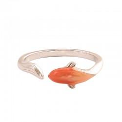 Mode poisson dauphin ouvert émail bague en argent animal bijoux cadeau bague originale
