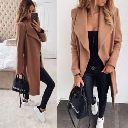 Mode couleur unie revers mi-longueur bandage laine tissu pardessus long femmes coupe-vent manteau