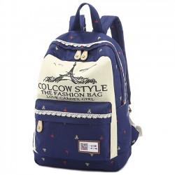 Fleurs de mode dessin animé tour eiffel impression grande capacité sac de dentelle sac à dos école