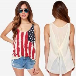 Nouveau Bien américain Drapeau Bande Sans manches Gilet T-Shirts