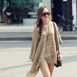 Fashion Casual Solid Sweater Hollow Tassel Hem Bat Sleeve Loose Pullover Smock