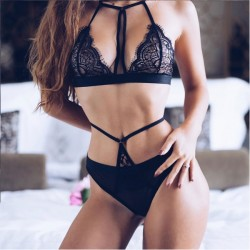 Sexy Bra Set Mesh Black High Waist Sling Lace Bandage Women Intimate Lingerie