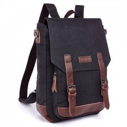 Rétro épissure PU ceintures rabat ordinateur portable sac école toile sac à dos voyage sac à dos carré