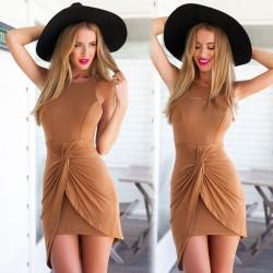 Solide Mode Slim Manches Robe Plissée