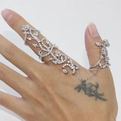 Personnalité Se leva faux diamant Réglable Bague Lien Doigt Ouverture Bague