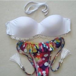 Dot Floral Printing Tassel Sexy Lace Bikini