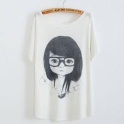 Little Girl Wearing Eye Printed Cotton T-Shirt