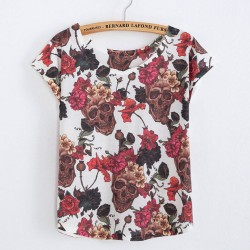 Laughing Skull Flower Printed T-Shirt