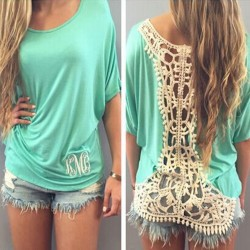 Fashion Green Loose Crochet Lace T-Shirt