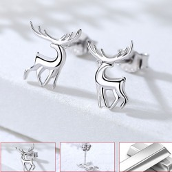 Lovely Deer Animal Silver Female Earrings Studs Elk Earrings