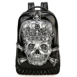 Punk 3D Couronne tête de crâne rivets grand sac à dos d'école stéréo d'unité centrale de garçon