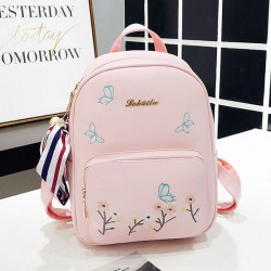 Fresh Cute Butterfly Flower PU Student Bag Girl School Backpack