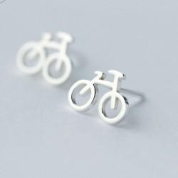 Mode Mini vélo creux vélo dame argent boucles d'oreilles en argent