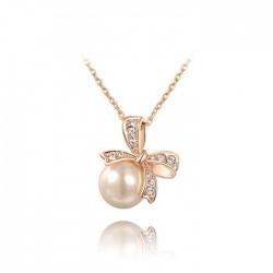 Sucré Incruster Cristal Arc Collier avec pendentif perle