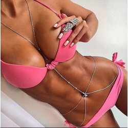 Pink Bikini Beach Wonmen Halter Swimwear Bathingsuit Swimsuit