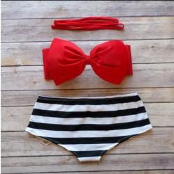 Boknow Black And White Striped High Waist Beach Swimwear
