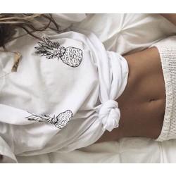 Pineapple printed short-sleeved T-shirt Blouses Top