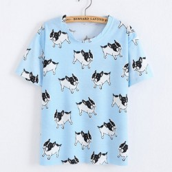 Cute Shar Pei Animals Printed Cartoon Blue Women T-Shirt