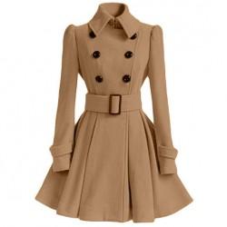 Automne Hiver Moyen Style Double-breasted col montant debout jupe plissée pardessus de laine Silm