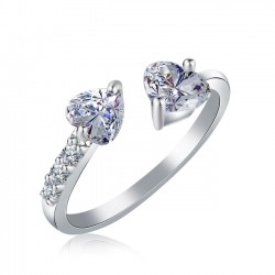 Bague à diamant ajustable avec double coeur et ouverture complète