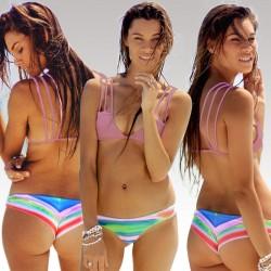 Bandage Print Bikini Retro Tie-dye Halter Swimsuits Bikini Set