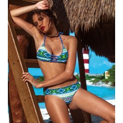 Geometry Print Bikini Retro String Triangle Halter Swimsuits Bikini Set