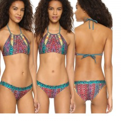 Chevrolet Print Bikini Totem Halter Swimsuit Bathing Suits Swimwear