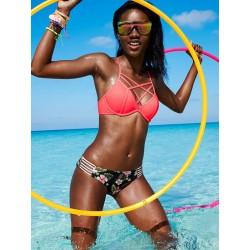 Cross Straps Grid Bikini Bandage Swimwear