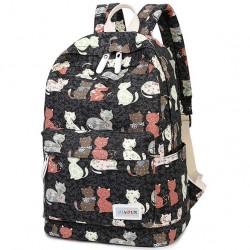 Chat de dessin animé fleur voyage sac à dos chaton animal école toile sac à dos