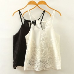 Mesh Embroidery Halter Top Crochet Lace Shirt Blouse