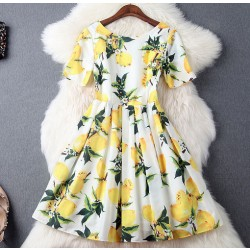 Fashion Lemon printing Beading Silm Short-sleeved Dress Party Dress